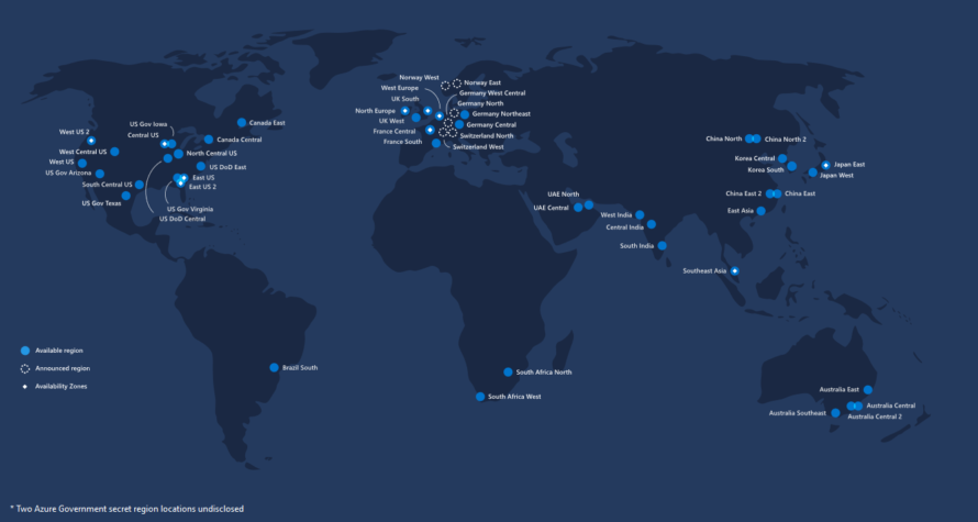 Azure global datacenter map